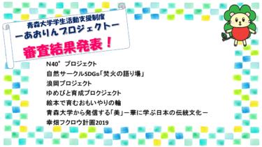 『令和元年度 あおりんプロジェクト』審査結果発表!!