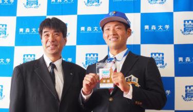 蝦名達夫選手 横浜DeNAベイスターズ指名あいさつが行われました